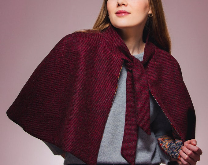 Red/Black Twill Harris Tweed Tie Neck Cape with Liberty Print Lining - Felix & Isabelle