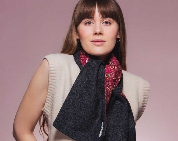 Charcoal Harris Tweed Scarf with Liberty Print Lining - Donna Leigh