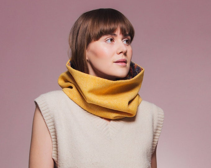 Yellow Twill Harris Tweed Cowl with Liberty Print Lining - Felix & Isabelle
