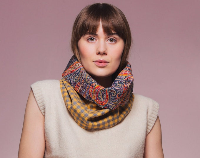 Yellow Check Tweed Cowl with Liberty Print Lining - Felix & Isabelle