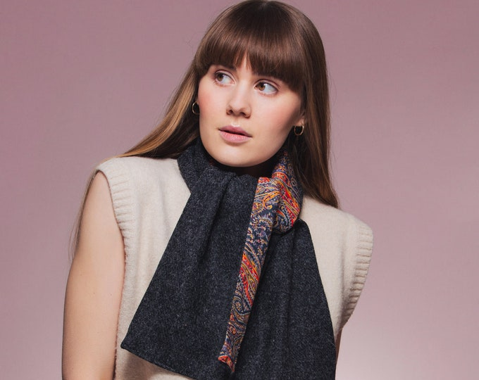 Charcoal Harris Tweed Scarf with Liberty Print Lining - Felix & Isabelle
