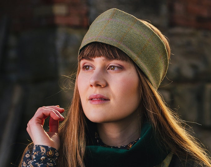 Pale Beige Lovat Tweed Ear Warmer Headband Velvet Lining