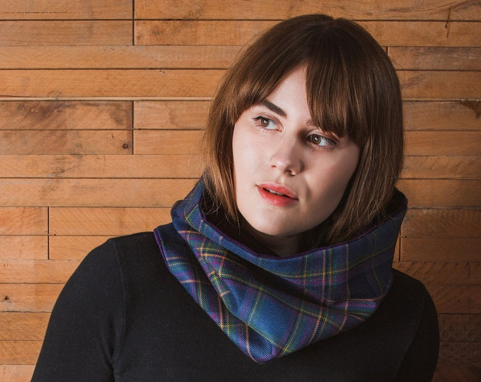 Highland Mist Tartan Cowl Velvet Lining*Free Shipping*