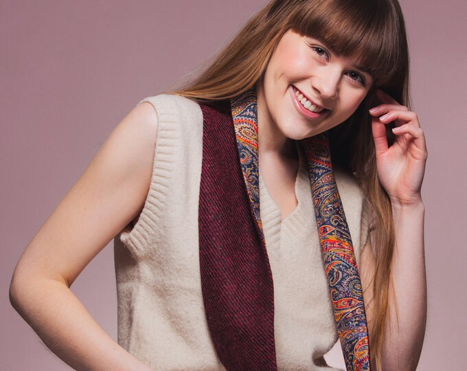 Red/Black Twill Harris Tweed Infinity Scarf with Liberty Lining - Felix & Isabelle