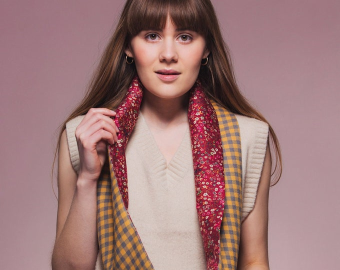 Yellow/Grey Check Tweed Infinity Scarf with Liberty Lining - Donna leigh