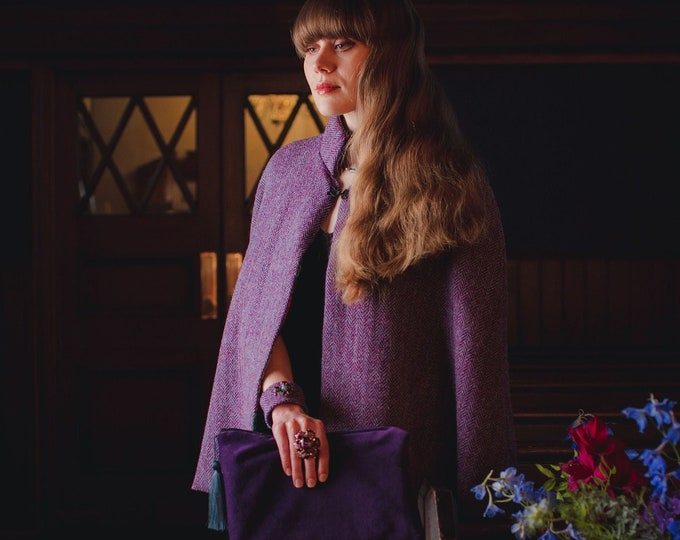 Purple Harris Tweed Tie Neck Stand Collar Cape with Liberty Print Lining