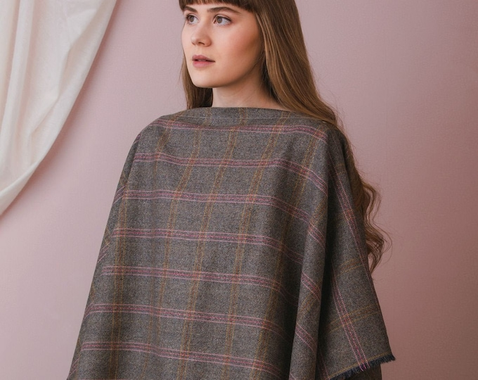 Grey Lovat Tweed Fringed Poncho