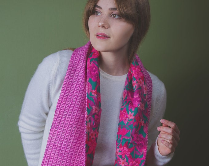Pink Herringbone Harris Tweed Scarf with Liberty Print Lining - Brightley