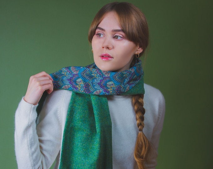 Green Twill Harris Tweed Scarf with Liberty Print Lining - Peacock Parade