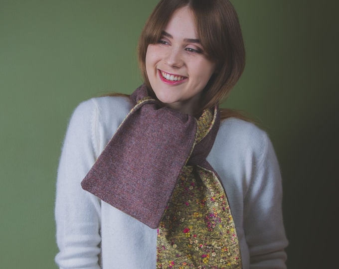 Brown Twill Harris Tweed Scarf with Liberty Print Velvet Lining - Mawston Meadow