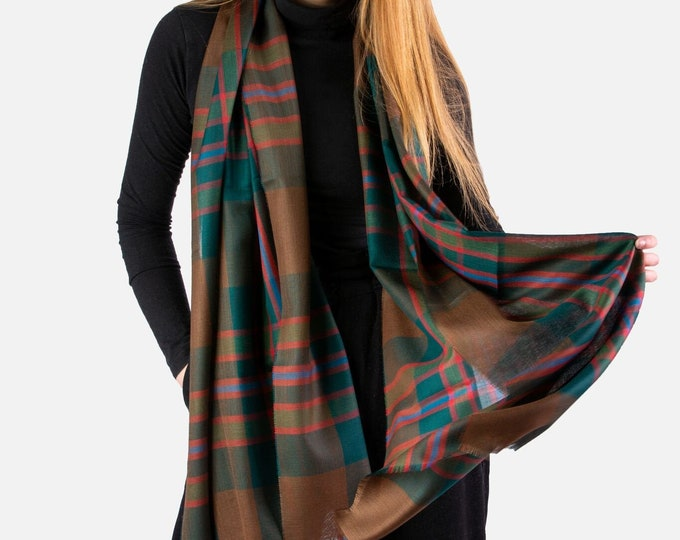 Lightweight John Muir Way Tartan Shawl Scarf*Free Shipping*