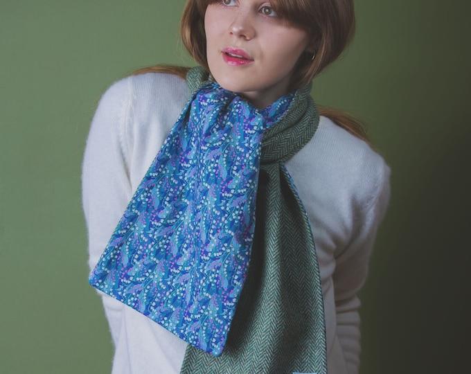 Green Herringbone Harris Tweed Scarf with Liberty Print Lining - Wylde