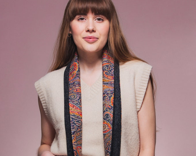 Charcoal Harris Tweed Infinity Scarf with Liberty Lining - Felix & Isabelle
