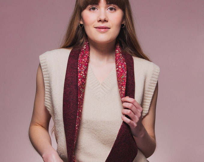 Red Twill Harris Tweed Infinity Scarf with Liberty Lining - Donna Leigh