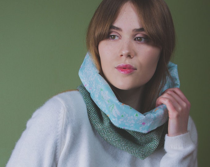 Green Herringbone Harris Tweed Cowl with Liberty Print Lining - Yoshie