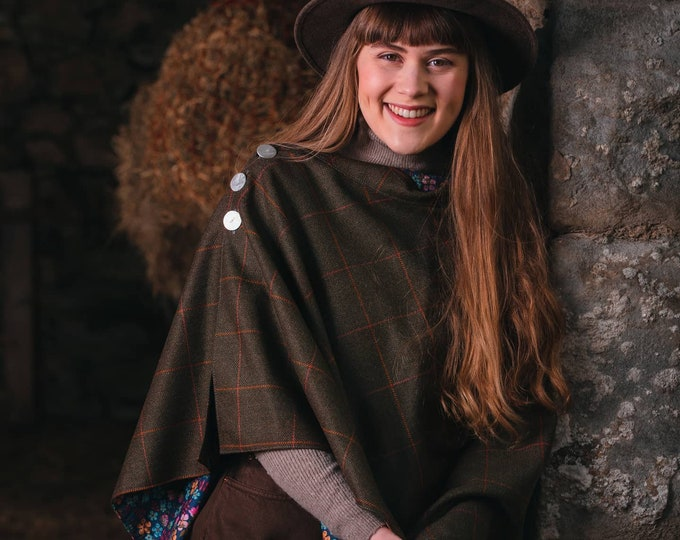 Rich Brown Lovat Tweed Liberty Lined Poncho