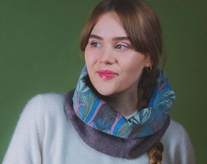 Lilac Herringbone Harris Tweed Cowl with Liberty Print Velvet Lining - Kate Nouveau