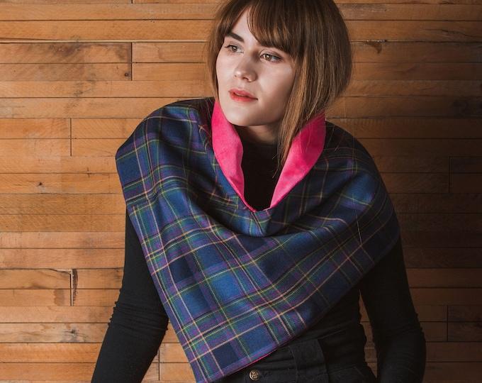 Highland Mist Tartan Draped Cowl Velvet Lining