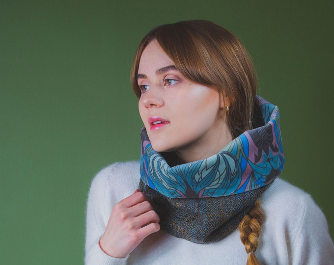 Grey Check Harris Tweed Cowl with Liberty Print Velvet Lining - Kate Nouveau