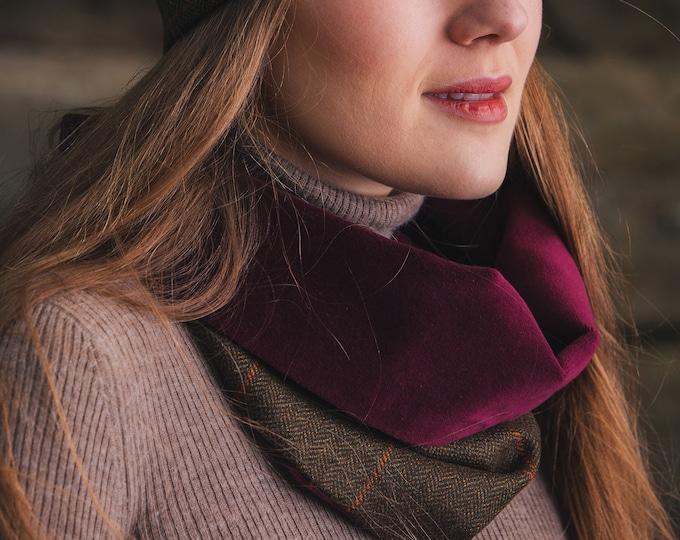 Rich Brown Lovat Tweed Cowl Velvet Lining
