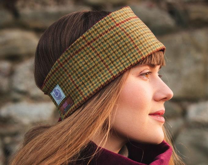 Classic Check Lovat Tweed Ear Warmer Headband Velvet Lining