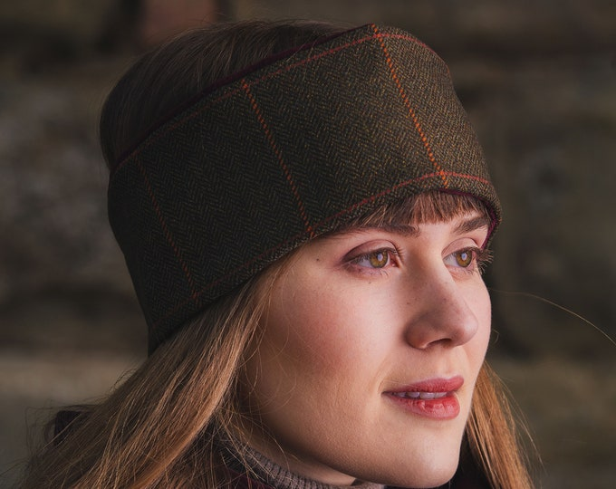 Rich Brown  Lovat Tweed Ear Warmer Headband Velvet Lining