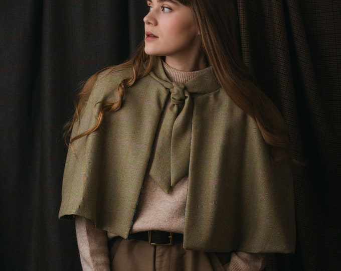Pale Beige Lovat Tweed Tie Neck Cape with Liberty Print Lining