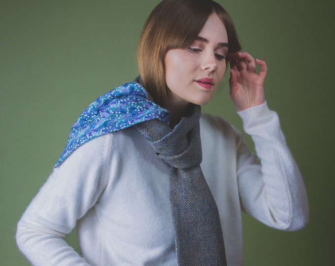 Blue Herringbone Harris Tweed Scarf with Liberty Print Lining - Wylde