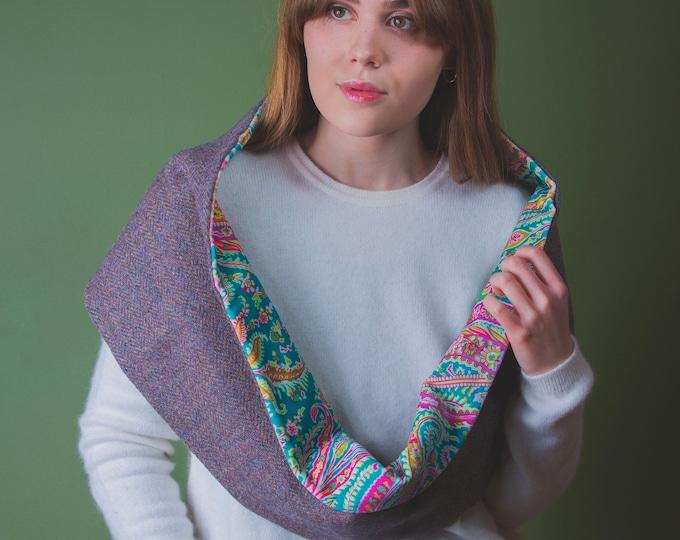 Lilac Herringbone Harris tweed Infinity Scarf Liberty Print Velvet Lining - Felix Raison