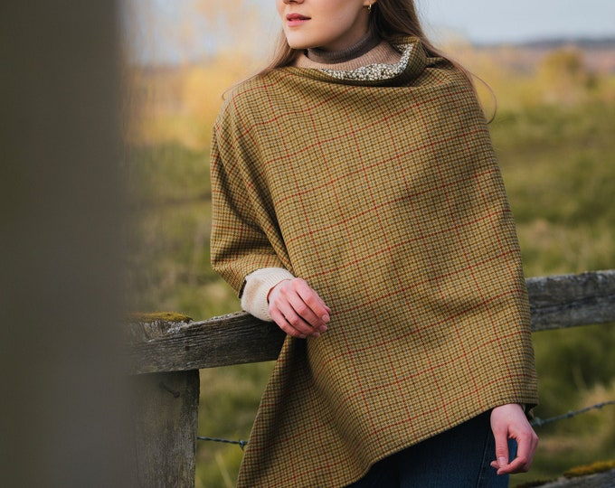 Classic Check Lovat Tweed Liberty Lined Poncho