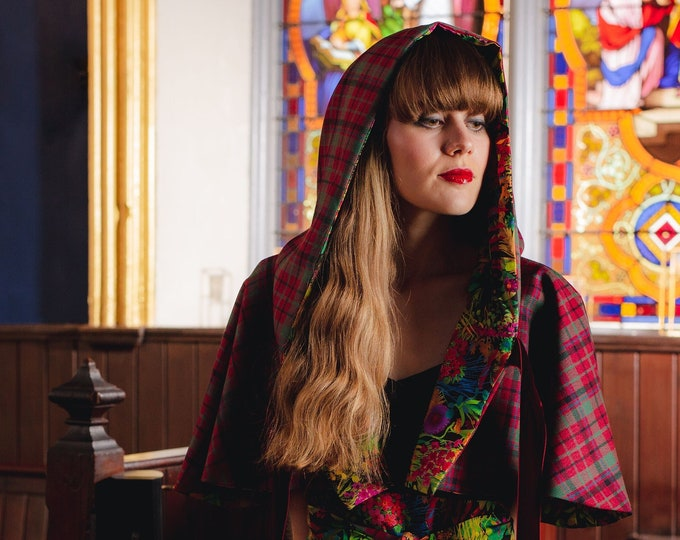 Muted Red Nicolson Tartan Hooded Shoulder Cape with with Liberty Print Lining