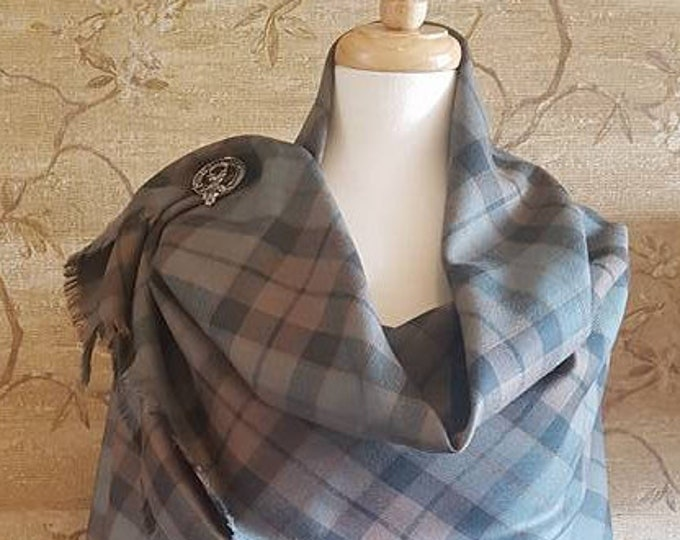 Featured listing image: Weathered MacKay Outlandish Shawl with Optional Clan Fraser Pin Selection *FREE SHIPPING*