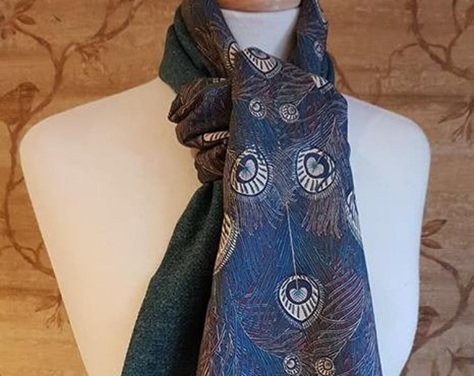 Featured listing image: Teal Islay Tweed Long Scarf  Liberty Print Lining