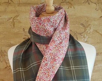 Sutherland Tartan Long Scarf with Liberty Print Lining *FREE SHIPPING*