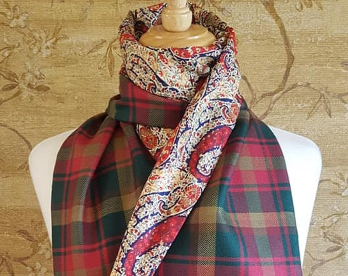 Featured listing image: Maple Leaf tartan Long Scarf Liberty Print Lining *FREE SHIPPING*