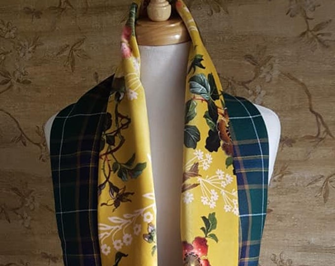 Featured listing image: Teviotdale tartan and Gold Floral Velvet infinity Scarf