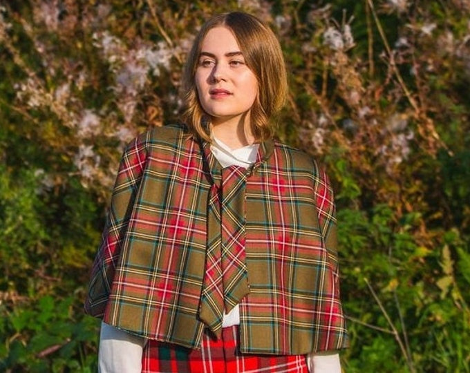 Pure Wool Cape - YOUR OWN TARTAN- Scottish Tartan Tie Neck Cape with with Liberty Print Lining