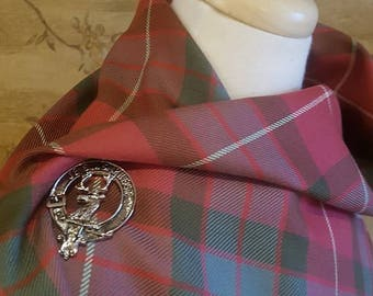 Weathered Red Fraser Outlandish Shawl with Optional Clan Fraser Pin Selection *FREE SHIPPING*