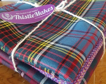 Bundle Mixed Colours Scottish Wool Tartan / Tweed  Craft Fabric (Large pieces)