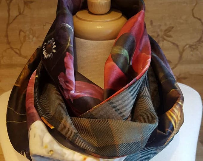 Featured listing image: Weathered Mackay tartan and Floral Velvet infinity Scarf