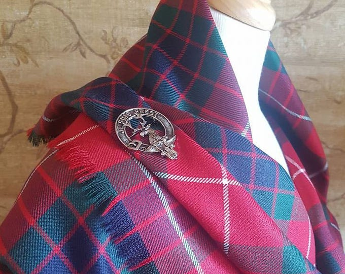 Featured listing image: Red Fraser Outlandish Shawl with Optional Clan Fraser Pin Selection *FREE SHIPPING*