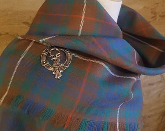 Ancient Hunting Fraser Outlandish Shawl with Optional Clan Fraser Pin Selection *FREE SHIPPING*