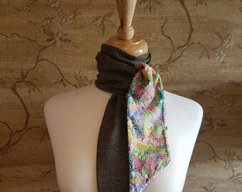 Blue Check Lovat Tweed Skinni Minni Scarf Liberty Print Lining