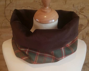 Flodden Commemorative Tartan Cowl Scarf with Brown Velvet Lining