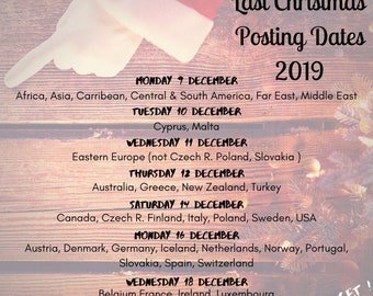 Last Recommended Posting Dates 2019