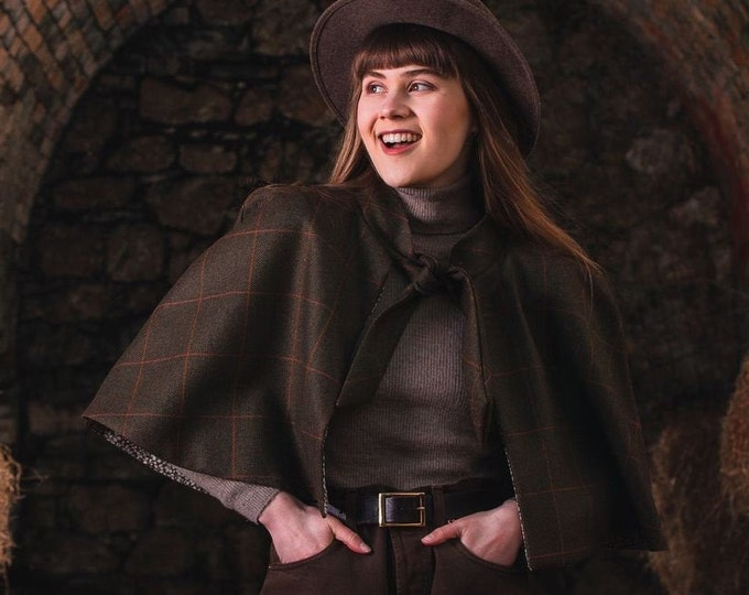 Rich Brown Lovat Tweed Tie Neck Cape with Liberty Print Lining