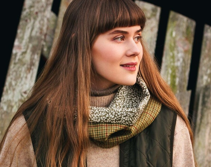 Classic Check Lovat Tweed Cowl Liberty Lining *FREE SHIPPING*