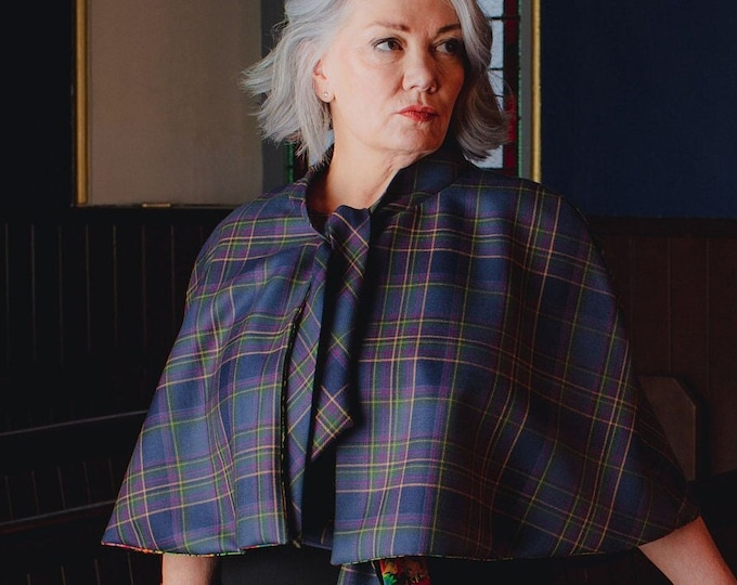 Highland Mist Tartan Tie Neck Cape with with Liberty Print Lining