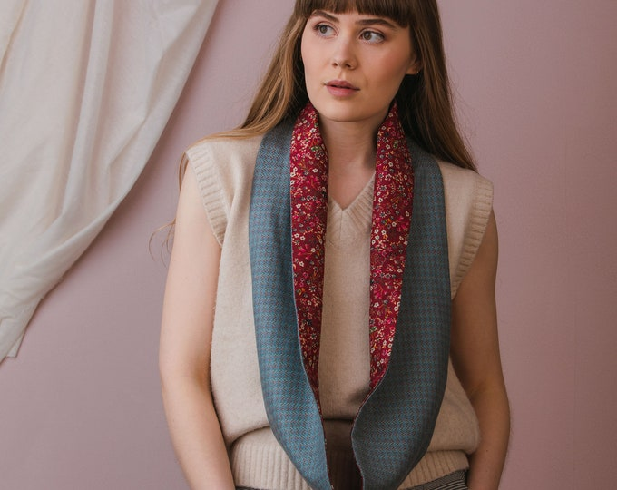 Blue Check Tweed Infinity Scarf with Liberty Lining - Donna Leigh