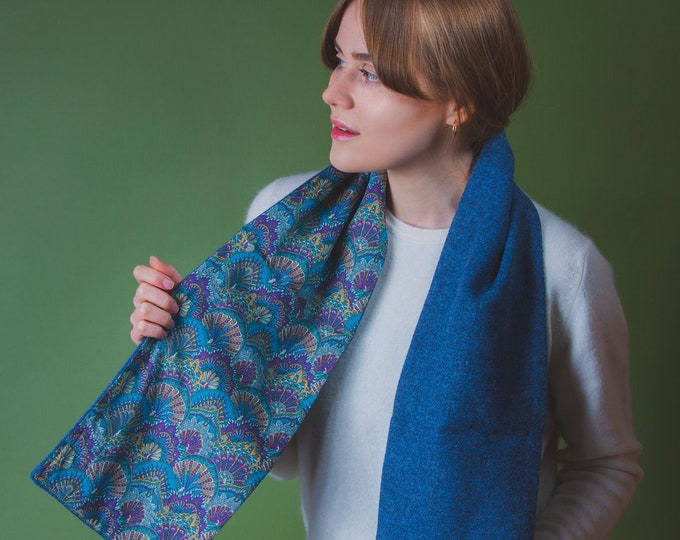 Blue Twill Harris Tweed Scarf with Liberty Print Lining - Peacock Parade